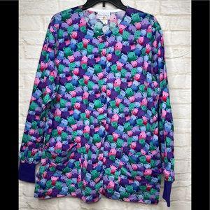 Peaches Uniform Teddy Bear Scrub Jacket LG Long Sl